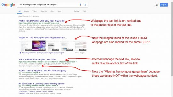 Internal Link Anchor Text SEO Test Result