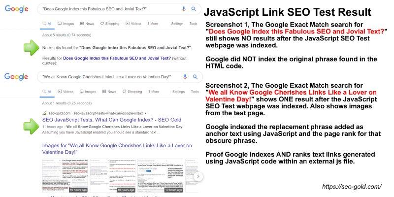 JavaScript Link SEO Test Result
