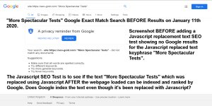 JavaScript SEO Test Before Results for the Replaced Text