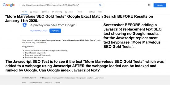 JavaScript SEO Test Before Results for the Replacement Text