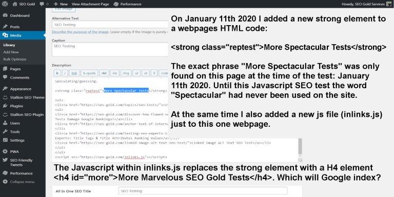 JavaScript SEO Test Original HTML Code