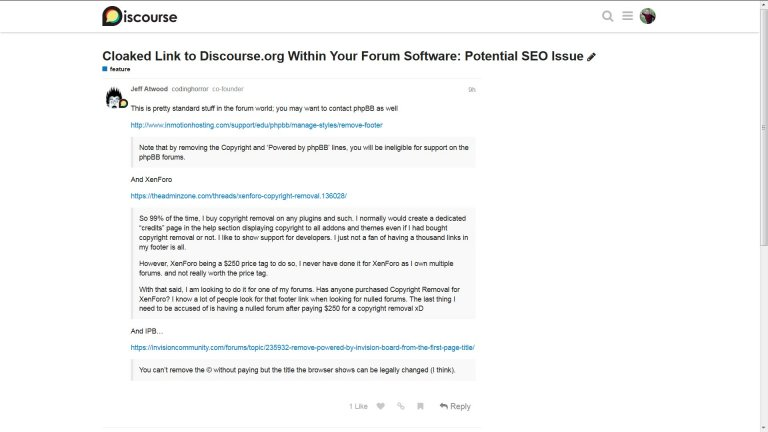 Jeff Atwood Co-Founder of Discourse Forum Response to Hidden Blackhat SEO Links