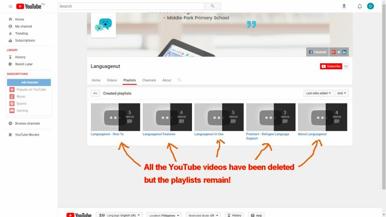 Languagenut YouTube Videos ALL Deleted