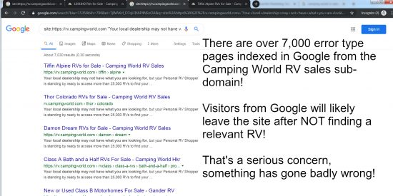 Large Numbers of Google Indexed Error Pages is an SEO Fail