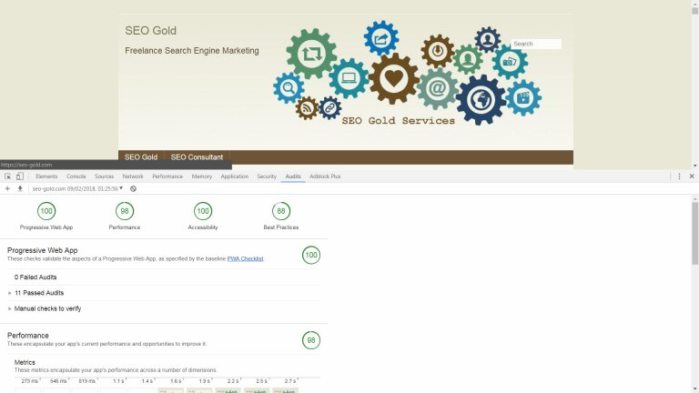Lighthouse Audit for SEO Gold Home Page
