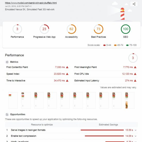 Lighthouse Performance Score of 3