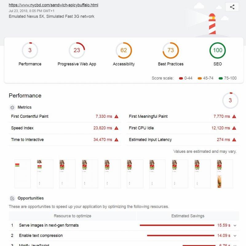 Lighthouse Performance Score of 3