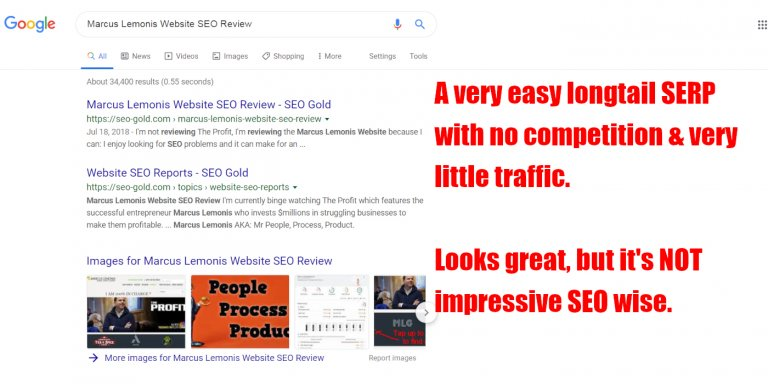Longtail SERPs with NO Traffic & NO Competition are NOT Impressive