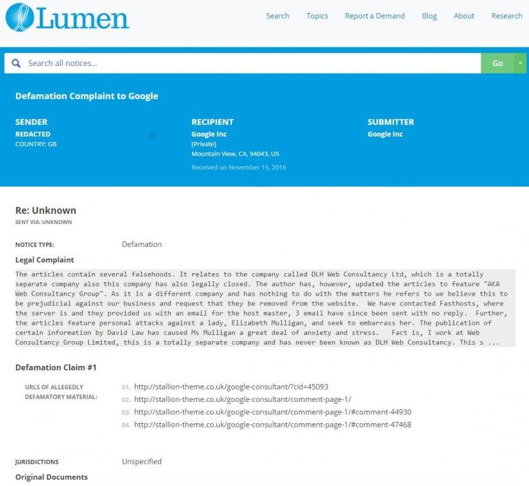 Lumen Defamation Claim to Google