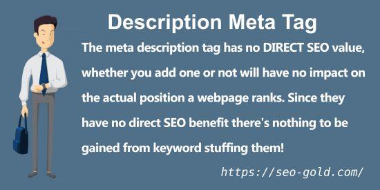 Meta Description Tag Has No Direct SEO Value