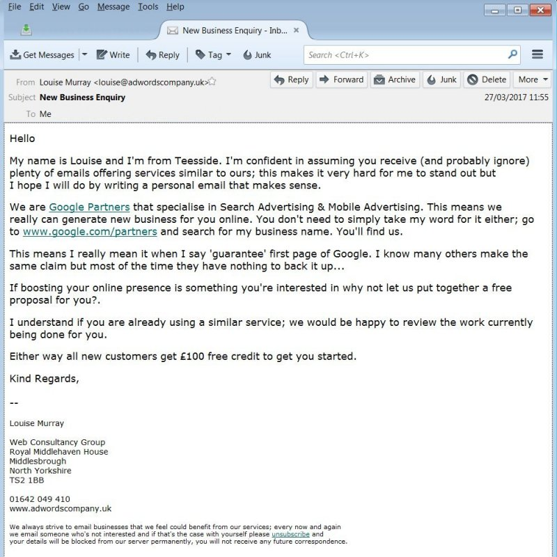Middlesbrough Web Consultancy Group AdWords SPAM Email