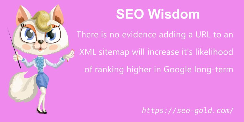 No Evidence Adding URLs to an XML Sitemap Increases Google Rankings