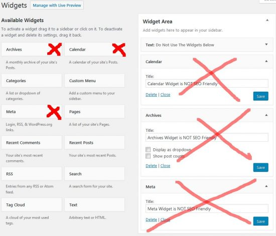 Not SEO Friendly WordPress Widgets
