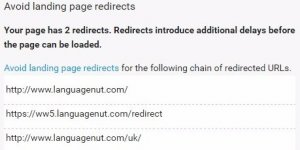 Google PageSpeed Insights Avoid Landing Page Redirects
