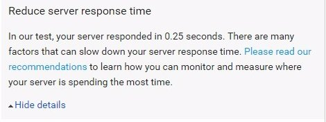 Google PageSpeed Insights Reduce Server Response Time