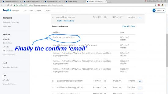 PayPal Sandbox Confirm Email Address Notification
