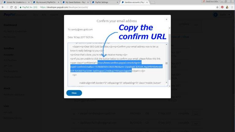 PayPal Sandbox Confirm Email Address URL