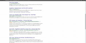 Quick SEO Analysis Google Search Dominated by Analysis Tools