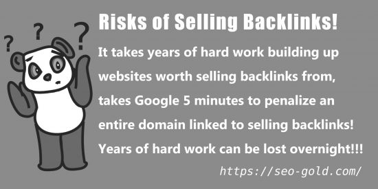 Risks of Selling Backlinks!