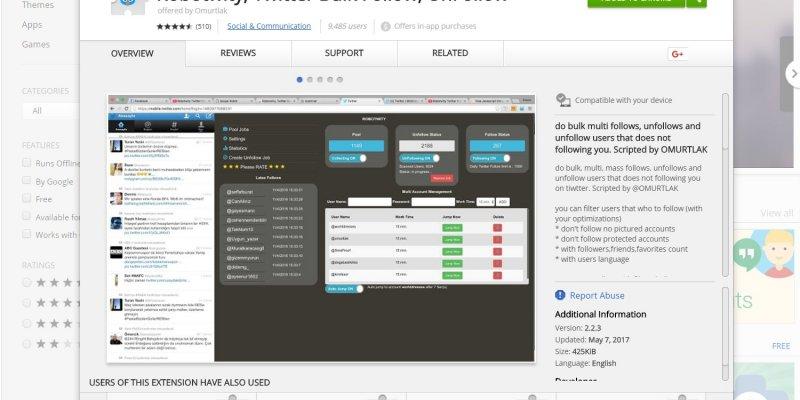 Robotwity, Twitter Bulk Follow, UnFollow Google Chrome Extension