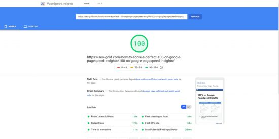 Score 100/100 Google PageSpeed Insights Mobile Speed Test