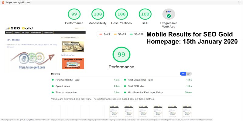SEO Gold Coast Mobile PageSpeed Results
