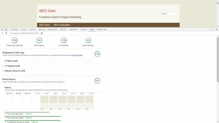 SEO Gold Progressive Web App LightHouse Audit Results