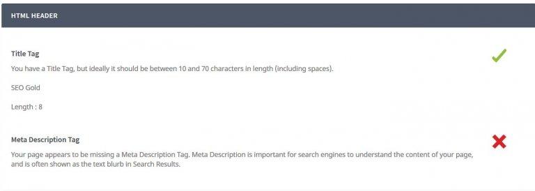 SEOptimer SEO Tool Title Tag Issues