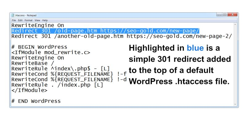 Simple 301 Redirect Added to Default WordPress .htaccess File
