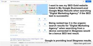 Skegness Local Digital Marketing Agency Google SERP