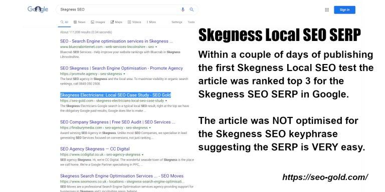 Skegness Local SEO SERP