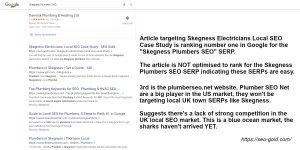 Skegness Plumbers Local SEO Google Rankings