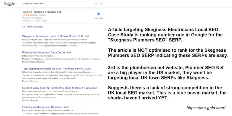 Skegness Plumbers Local SEO Google Rankings