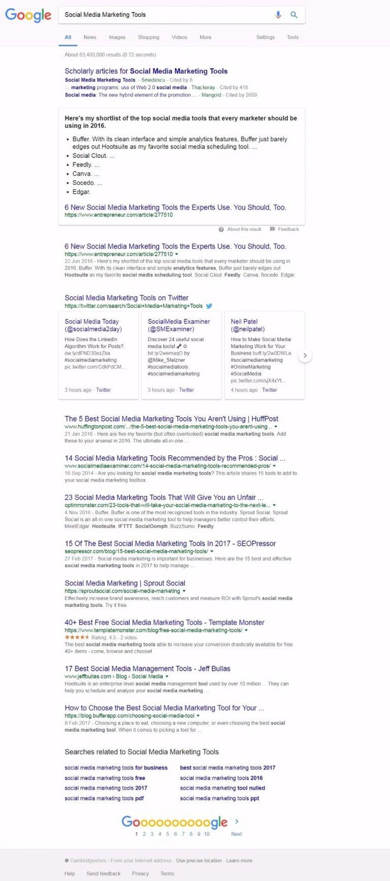 Social Media Marketing Tools Google Search