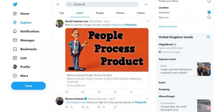 The Profit Hashtag on Twitter