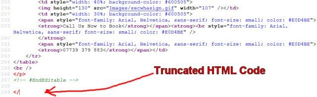 Truncated HTML Code
