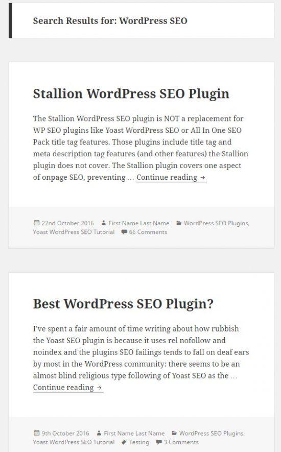 Twenty Sixteen WordPress Theme Search Results Archives