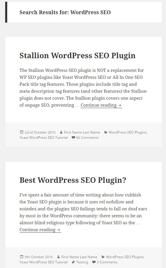WordPress Theme Search Results Archives