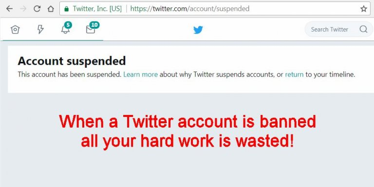 Twitter Account Suspended Notification