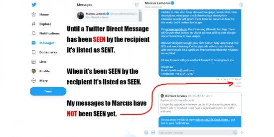 Twitter Direct Messages, Sent vs Seen
