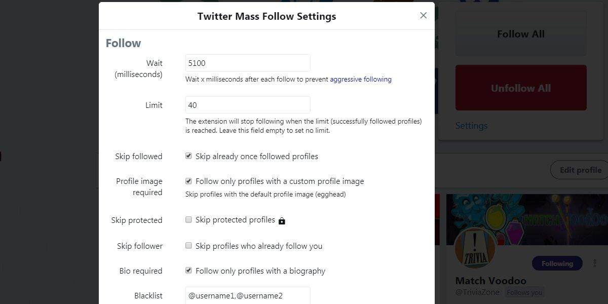Twitter Mass Follow Chrome Extension Follow Settings