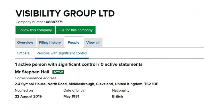 Visibility Group Ltd Owned by Stephen Hall
