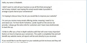 Middlesbrough Web Design Company Unsolicited SPAM Email