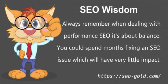 Always Remember When Dealing With Performance SEO it's About Balance