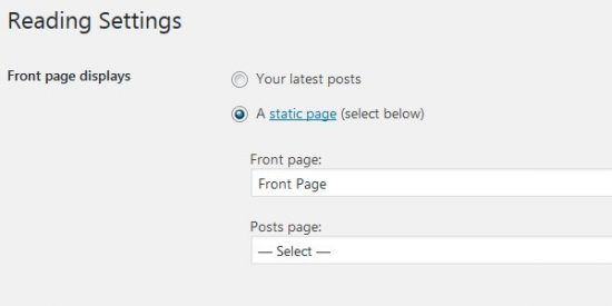 WordPress Front Page Displays A Static Page