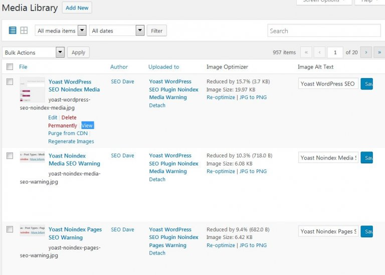 WordPress Media Attachment View Links