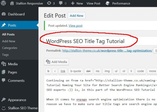 WordPress Post Title Tag