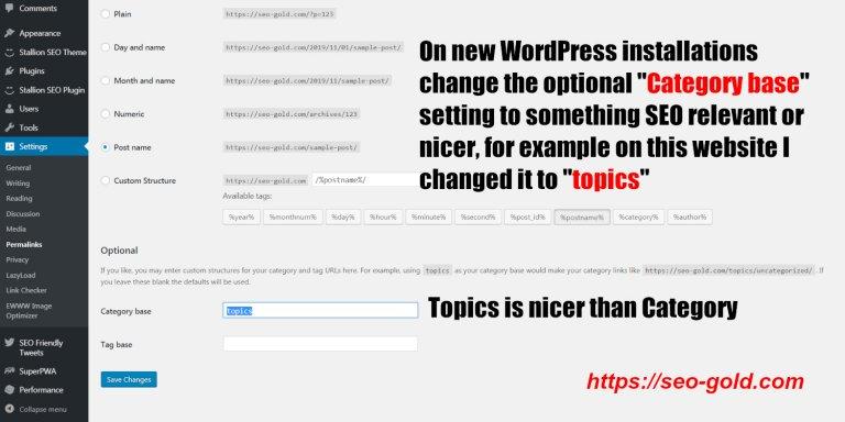 WordPress SEO Category Base
