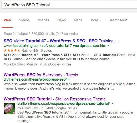 WordPress SEO Tutorial SERP