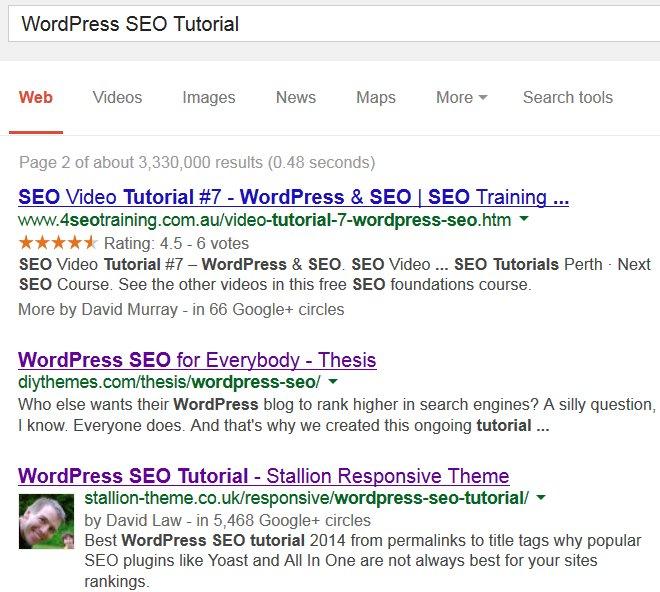 WordPress SEO Tutorial Google SERP